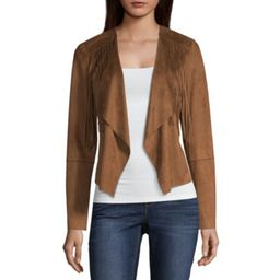 a.n.a Ana Fringe Suede Jacket Faux Suede Midweight Motorcycle Jacket   JCPenney