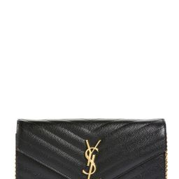 Saint Laurent 'Large Monogram' Quilted Leather Wallet on a Chain   Nordstrom