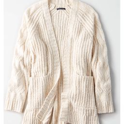 AE Slouchy Cable Cardigan Sweater, Cream   American Eagle Outfitters (US & CA)