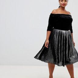 Lovedrobe velvet bardot dress with metallic pleated skirt | ASOS US