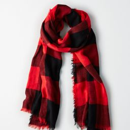 AEO Lightweight Buffalo Plaid Scarf, Red   American Eagle Outfitters (US & CA)
