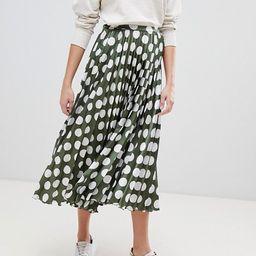 ASOS DESIGN satin pleated midi skirt in polka dot | ASOS US