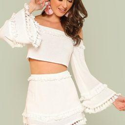 Bell Sleeve Layered Tassel Trim Crop Bardot Top & Skirt Set | SHEIN