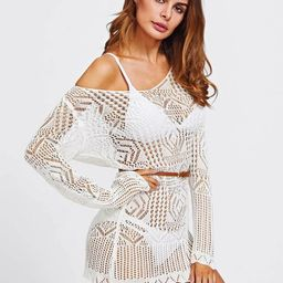 Off Shoulder Scallop Trim Open Knit Cover Up   SHEIN