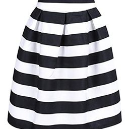 CHOiES record your inspired fashion Women's Color Block Houndstooth Print High Waist Pleated Skater    Amazon (US)