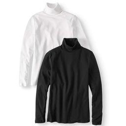 Time and Tru Women's Long Sleeve Mock Neck T-Shirt, 2 Pck Bundle | Walmart (US)