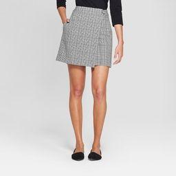 Women's Plaid Menswear Wrap Skirt - A New Day™ Gray | Target