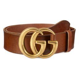 Gucci Running Gold Leather Belt | Nordstrom