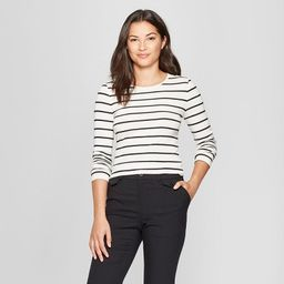 Women's Striped Long Sleeve Fitted Crew T-Shirt - A New Day™ | Target
