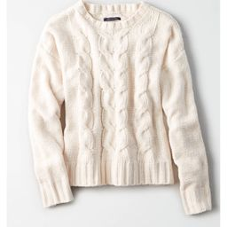AE Impossibly Soft Cable Knit Sweater, Cream   American Eagle Outfitters (US & CA)