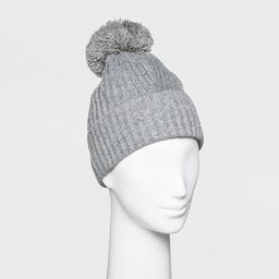 Women's Ribbed Cuff Pom Beanie - A New Day™   Target