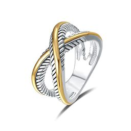 UNY Ring Vintage Designer Fashion Brand women Valentine Gift Two Tone plating Twisted Cable Wire Rin | Amazon (US)
