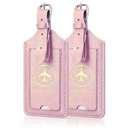 [2 Pack]Luggage Tags, ACdream Leather Case Luggage Bag Tags Travel Tags 2 Pieces Set, Rose Gold   Amazon (US)