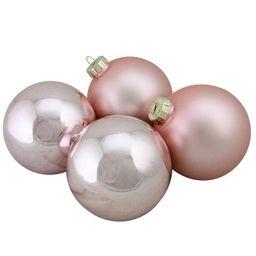 "Northlight 4pc Shiny and Matte Glass Ball Christmas Ornament Set 4"" - Pink   Target"