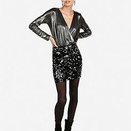 High Waisted Velvet Sequin Mini Skirt | Express