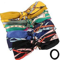 4 Pack Printed Rose Knot Headband Hair Band Fashion Headdress Cross Hood for Women | Amazon (US)