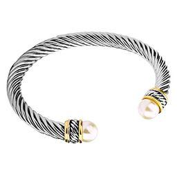 UNY Fashion Jewelry Brand Cable Wire Bangle Elegant Beautiful Imitation Pearl Valentine | Amazon (US)