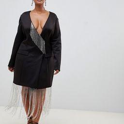 ASOS DESIGN Curve tux mini shift dress with rhinestone fringe   ASOS US