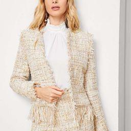 Frayed Edge Open Front Tweed Coat   SHEIN