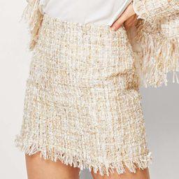 Fringe Hem Tweed Skirt   SHEIN