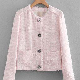 Rhinestone Detail Tweed Blazer   SHEIN