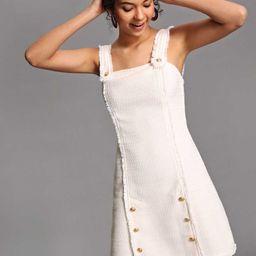 Button Detail Raw Edge Tweed Dress   SHEIN