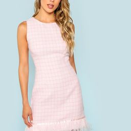 Faux Feather Embellished Sleeveless Tweed Dress   SHEIN