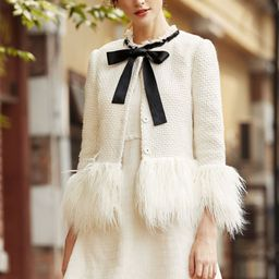 White Faux Fur Trim Tweed Blazer   SHEIN