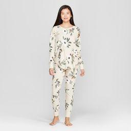 Women's Floral Print Thermal Pajama Set - Gilligan & O'Malley™ Cream | Target