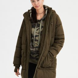 AE Long Puffer Jacket, Burgundy | American Eagle Outfitters (US & CA)