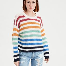 AE Striped Crew Pullover Sweater, Cream   American Eagle Outfitters (US & CA)