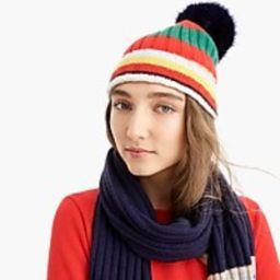 Pom pom hat in striped everyday cashmere   J.Crew US