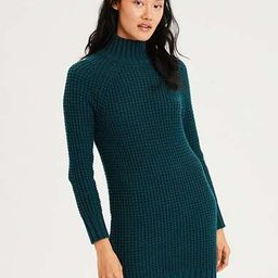 AE Waffle Mock Neck Sweater Dress, Teal   American Eagle Outfitters (US & CA)