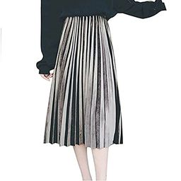 MUMUBREAL Women's Vintage Velvet Pleated High Waist Midi Calf A-line Skirt   Amazon (US)