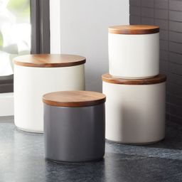 Silo Wood Lid Canisters | Crate & Barrel