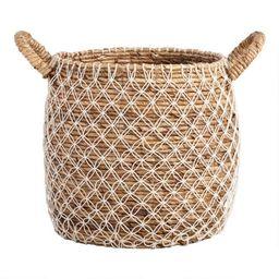 Large Macrame Seagrass Bianca Tote Basket | World Market