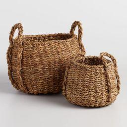 Natural Seagrass Round Jade Tote Baskets | World Market