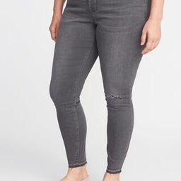 High-Rise Secret-Slim Pockets Plus-Size Released-Hem Gray Rockstar Jeans   Old Navy US