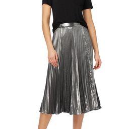 Pleated Metallic Midi Skirt   Nordstrom Rack