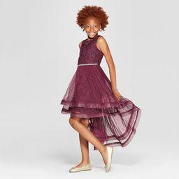 Lots of Love By Speechless Girls' Tulle Glitter Top Dress - Burgundy   Target