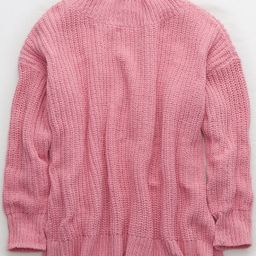 Aerie Chenille Crew Sweater, Pink Surf | American Eagle Outfitters (US & CA)