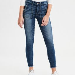 AE Ne(X)t Level High-Waisted Jegging Crop, Faded Indigo | American Eagle Outfitters (US & CA)