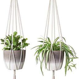 Mkono 2Pcs Macrame Plant Hanger Indoor Outdoor Hanging Planter Basket Cotton Rope Home Decor 40 Inch | Amazon (US)