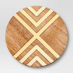 Set of 4 Coasters Natural Acacia with Gold Metal - Threshold™   Target