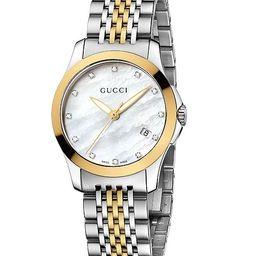 Women's Swiss G-Timeless Two Tone Diamond Accent Stainless Steel Bracelet Watch 27mm YA126513 | Macys (US)