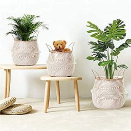 La Maia Medium Natural & Plus Woven Seagrass Belly Plant Basket with Handles Woven Planter Basket fo | Amazon (US)