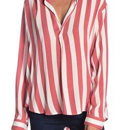 Striped Long Sleeve Popover Blouse   Nordstrom Rack
