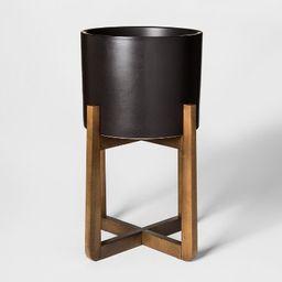 Wood & Stoneware Indoor Planter Large - Black - Project 62™   Target