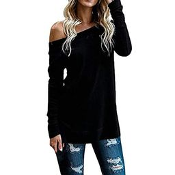Rambling New Womens Sweaters Off The Shoulder Pullover Sweater Long Sleeve Knit Jumper Blouse Tops | Amazon (US)