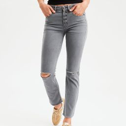 AE Ne(X)t Level High-Waisted Crop Flare Jean, Smoked Gray   American Eagle Outfitters (US & CA)